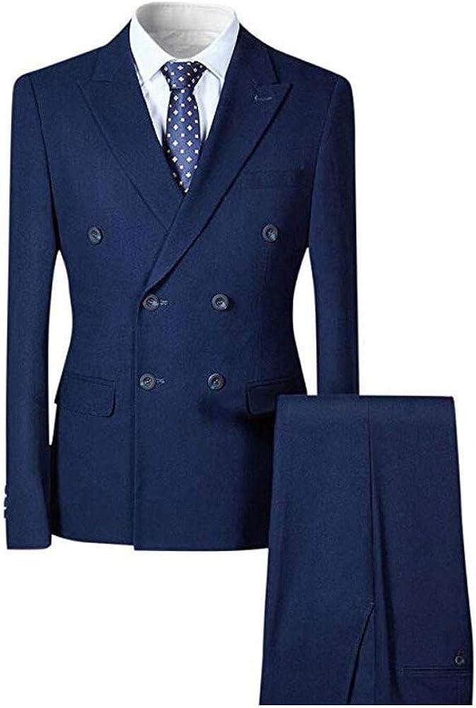 Men's Double Breasted Suits Notch Lapel 2 Pieces Wedding Suits Business Suit