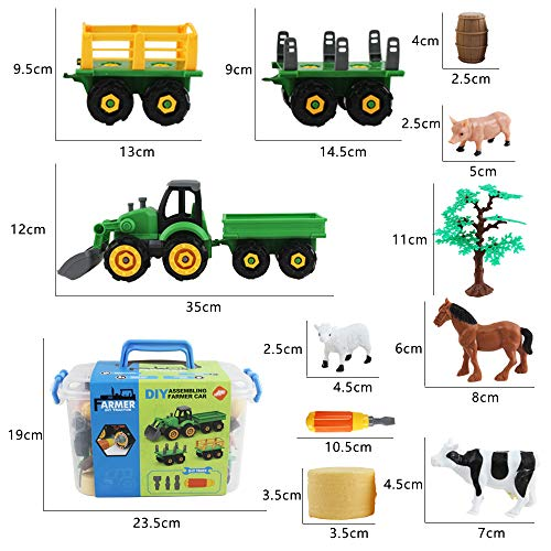 deAO 28 Pieces Farm Yard Play Set with DIY Take Apart Push Along Tractor and Trailers, Manual Screwdriver, Farm Animals, Storage Box and Accessories Included - Great Fun for Kids