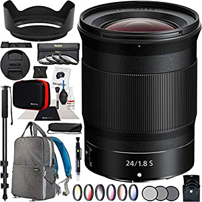 Nikon NIKKOR Z 24mm f/1.8 S Lens Wide-Angle Prime 20080 Z Series Mirrorless Camera Bundle with 72mm Deluxe Photography Filter Kit, Deco Gear Backpack Case and Accessories from Nikon