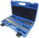 Get NORTOOLS Master Hex Bit Socket Set S2 Steel Allen Socket Bit SAE and Metric Torx Bit CRV Socket Tool Allen Wrench Bit Kit 1/2