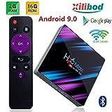 Xilibod H96 MAX TV Box Android 9.0 2GB RAM/16GB ROM, Penta-Core Mali-450 Up to 750Mhz+, RK3318 Quad-Core 64bit Cortex-A53, H.265 Decoding 2.4GHz/5GHz WiFi Smart TV Box