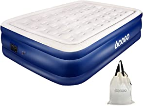 GOOGO Queen Air Mattress with Built-in Pump, Inflatable Bed Blow Up Mattress Air Bed Guest Double High Elevated Airbed with Flocked Top, Includes Portable Bag for Camping Travel