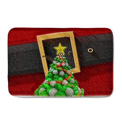 Amzbeauty Felpudo de Navidad para interiores y exteriores, antideslizante, duradero, lavable, divertido, decorativo, para entrada, dormitorio, baño, cocina