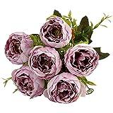 Zilosconcy Trockenblumen 6 Pfingstrosenblüten Künstliche Dekorative Kunstblumen Blumen Balkon Deko Pflanzen Alle Jahreszeiten für Sträucher Freien Innen Gartendeko