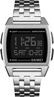 ETbotu Men Busines Style Daily Waterproof Digital Watch Luminous Multifunction Wristwatch Silver