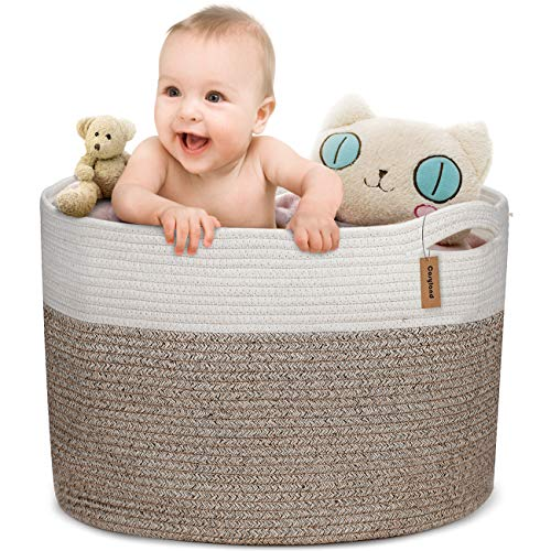 COSYLAND XXXL Cotton Rope Basket 197quotx 197quotx13quot Baby Laundry Woven Storage Hamper Baskets Blanket Toys Towels Nursery Bin with Handle
