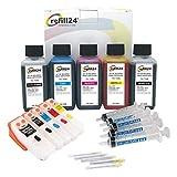 refill24 Kit de Recarga Compatible para Cartuchos de Tinta T3331 + T3342-3344 / T3351 + T3361-3364 / T33XL Negro y Color + Cartuchos Recargables y Accesorios + 500 ML Tinta