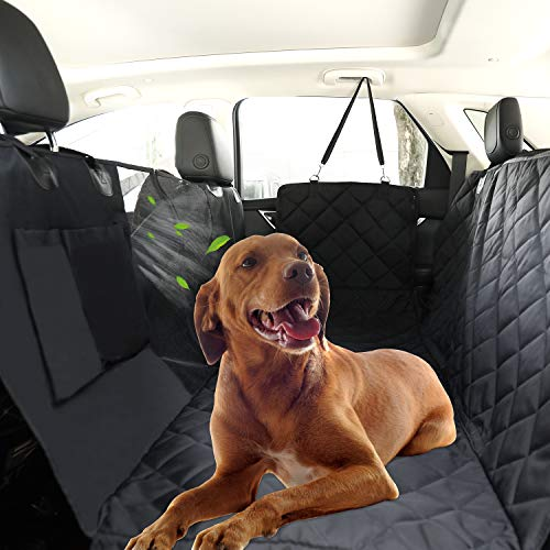 HAOPINSH Dog Cover Dogs Seat Covers 100% Waterproof Car Seat Covers with Mesh Window Zippered Side Flap Anti-Slip Heavy Duty Pet Back Seat Covers for Cars SUV Trucks