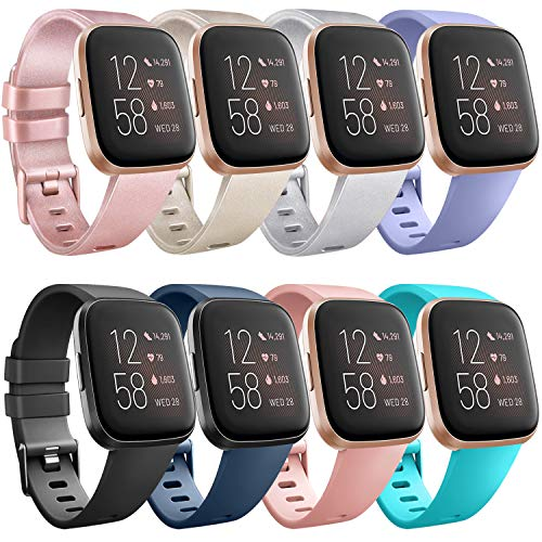 Tobfit for Fitbit Versa 2 Bands/Fitbit Versa Lite Bands, Sport Wristband Small Large Classic TPU Replacement Watch Band for Fitbit Versa & Fitbit Versa Lite & Versa SE & Versa 2 Smart Watch (8 PACK, Small)