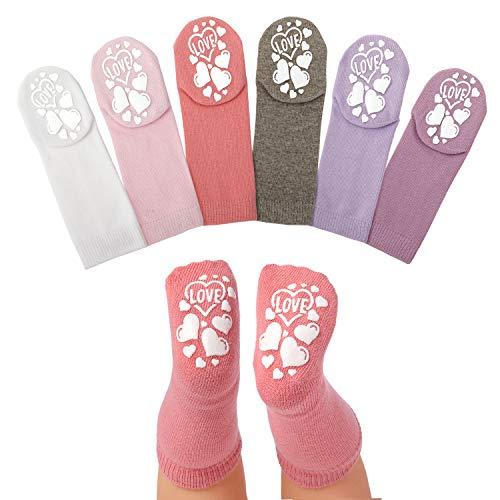Anole Calcetines para Recién Nacido y Bebé - 6 Pares - Alto de Rodilla de Algodón para Niños y Niñas (Niñas, 3-6 Meses)