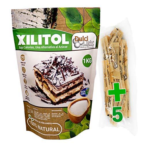 Xylitol 100% naturel 1 kg   5 Sticks gratuites   Sucre de Bouleau finlandais Idéal pour la confiserie et les régimes   DULCILIGHT édulcorant le goût naturel du sucre.