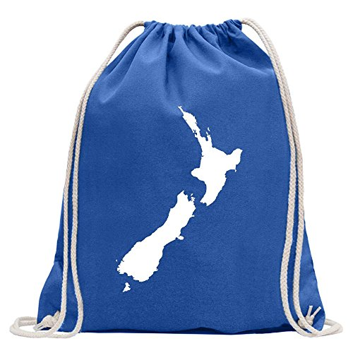 Kiwistar - Neuseeland Umriss Kontur Turnbeutel Fun Rucksack Sport Beutel Gymsack Baumwolle mit Ziehgurt