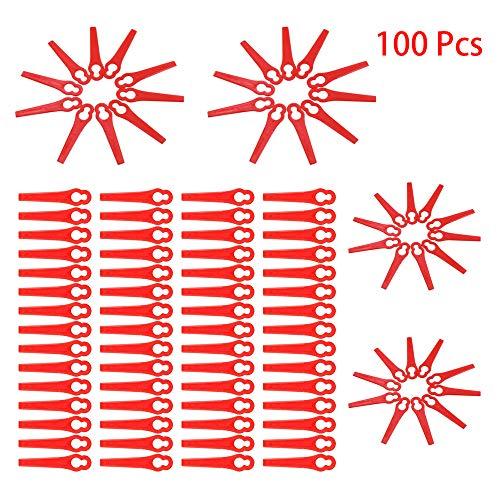 100x Kunststoffmesser Freischneider Kunststoff Ersatz Messer Klingen Rasentrimmer Trimmer 83mm fuer Einhell Akku Rasentrimmer Trimmer (Rot)