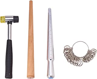 PandaHall Elite Jewelers Rubber Hammer Wood Ring Mandrel Sizer and Metal Sizing Measuring Stick with Ring Sizer Guage Set Jewelry Tools Kit for Jewelry Making Measuring