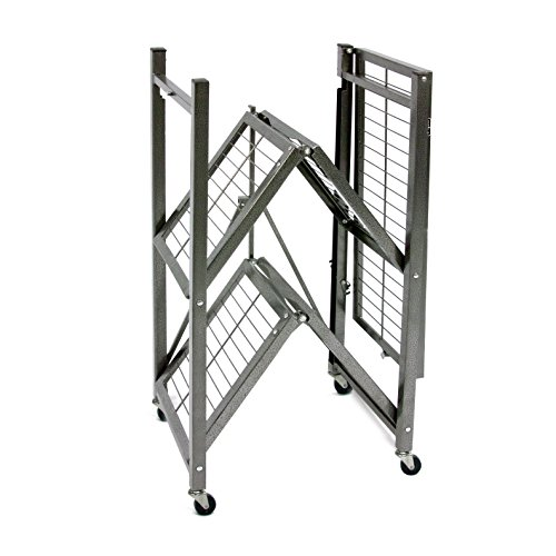 "Origami 3 Shelf Foldable Storage Unit on 3"" Caster Wheels, Unfolds in 5 Seconds, Holds up to 750 Pounds, Metal Organizer Wire Rack, 29"" x 13"" x 36"", Heavy-Duty - Pewter"