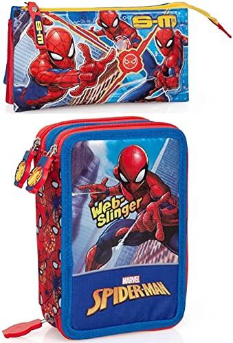 rainbowFUN.de Marvel Spiderman - Estuche con 3 compartimentos, diseño de Spiderman