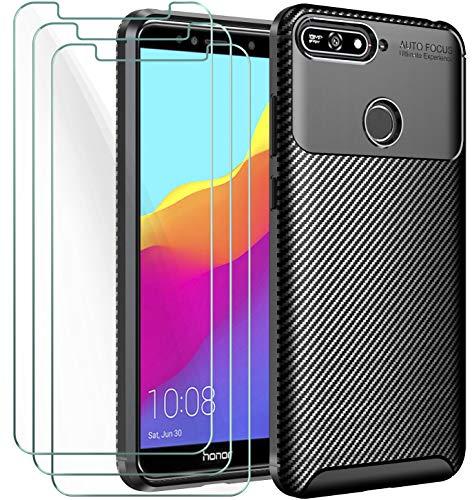 iVoler Cover per Huawei Y6 2018 / Honor 7A + 3 Pezzi Pellicola Vetro Temperato, Fibra di Carbonio Custodia Protezione in Morbida Silicone TPU Anti-Graffio e Antiurto Protettiva Case - Nero