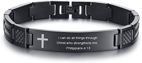Stainless Steel Religious Quote Faith Christian Bible Verse Inspirational Cross Carbon Fiber Link Bracelet for Men Dad Father, Father's Day Gift