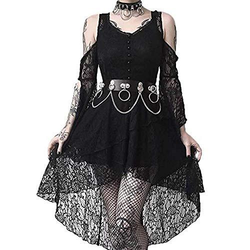 YEBIRAL Damen Gothic Steampunk Mittelalter Kleid mit Schmetterlingsärmeln Spitzenkleid Ballkleider Vintage Schulterfrei Party Festlich Cosplay Dress Karneval Halloween Kostüm
