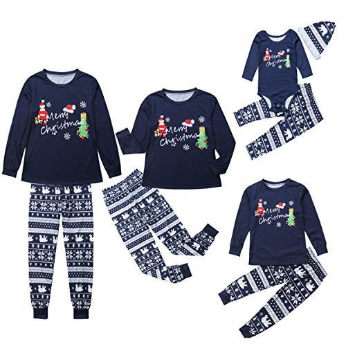 douleway Coincidencia de la familia de 2 PC de Santa Claus de Navidad Juegos de impresión pijamas para Hombres Blue-santa Kid 3T