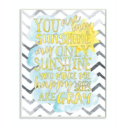 Stupell Industries You are My Sunshine Watercolors Chevron Wall Plaque, 10x15, Design By Artist Erica Billups