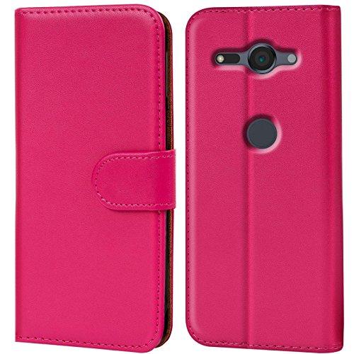 CoolGadget Hülle kompatibel mit Sony Xperia XZ2 Compact Tasche, R&umschutz Robustes Etui aus Kunstleder, Xperia XZ2 Compact Schutz Tasche - Pink