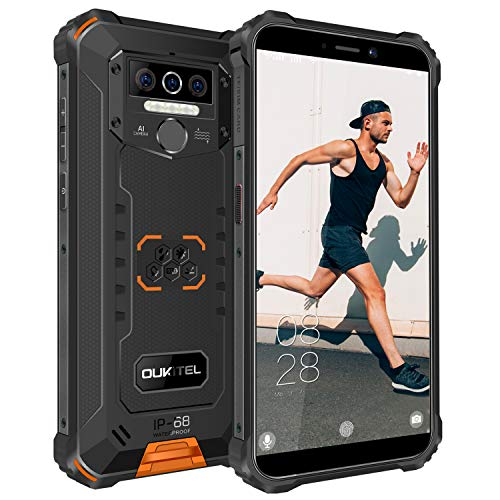 OUKITEL WP5 Outdoor Smartphone Ohne Vertrag, 4G Dual SIM Outdoor Handy, IP68 Wasserdichter, 8000mAh Akku, 4GB 32GB Android 10 Handy, Global Version 5,5 Zoll Triple Kamera Face/Fingerprint ID (Orange)
