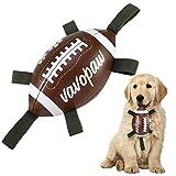 VavoPaw Juguete Rugby con Cuerdas para Perros, 15 cm Pelota Interactiva Fácil Agarrar Lanzar Hinchable Flotable Juego Acuático Piscina Mar Césped para Mascotas Medianos Pequeños, Marrón+Blanco+Verde