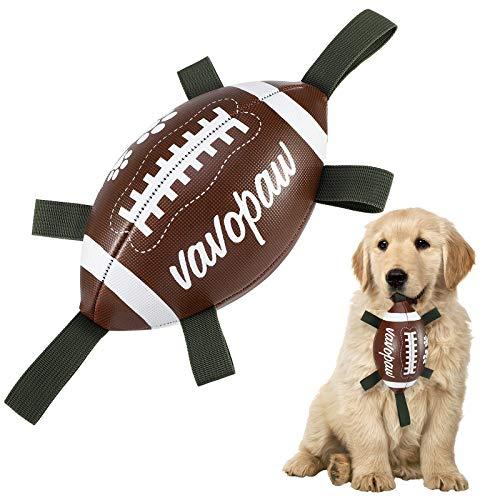 VavoPaw Rugby Hundespielzeug Ball, 15cm Interaktiv Schwimmender Ball Zerrspielzeug Trainingsball mit Griff Nylon Tabs Hund Kauspielzeug für Indoor Outdoor Wassersport Kleine Mittelgroße Hunde, Graun