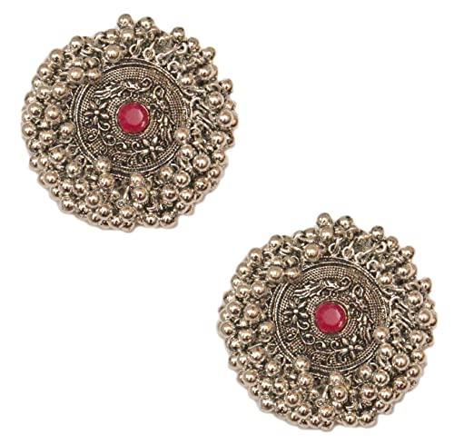 Pahal - Pendientes redondos de plata de jhumka de plata oxidada con perlas de racimo de kundan rosadas y redondas, para mujeres
