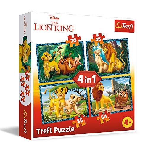 trefl 34317 Puzzle 4 in 1 modello Il re Leone 35-48-54-70 pezzi, Multicolore