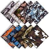 10 Piezas Tela Camuflaje Tela Algodon Telas Patchwork 48 CM x 48CM, ZWOOS Telas para Manualidades DIY Tela de Algodón de Dibujos Paquete de Tela para Patchwork Acolchado Almohadas Cojín