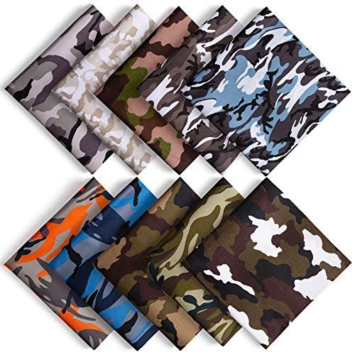 ZWOOS 10 Stück Baumwollstoff Camouflage Stoffe zum Nähen Mundschutz 48 x 48cm, Baumwollstoff Meterware Baumwolle Meterware Stoffe Paket Patchwork Stoffreste für Nähen und Heimwerken