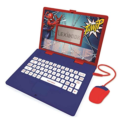 Disney Marvel Spider-Man Peter Parker - Ordenador Educativo bilingüe, aprende y Juega - 124 Actividades para Descubrir Matemáticas, Música, Conocimiento, Lógica, Juegos -Francés/Inglés, Azul/Rojo, JC