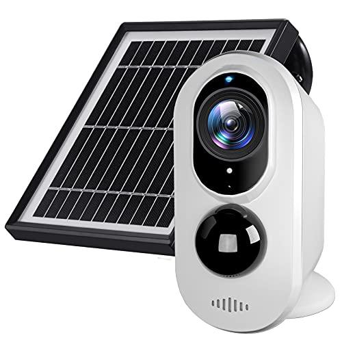 Überwachungskamera Außen - Solar Akku Kabellose WLAN IP Kamera mit PIR Bewegungssensor, 1080FHD, 130°Weitwinkel, Micro SD Kartenslot, IR-Nachtsicht, Sicherheitskamera Set mit Solarpanel
