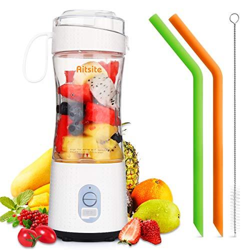 Aitsite Batidora portátil, batidora de frutas recargable USB con 2 pajitas, mini batidora para batidos, jugo de fruta, batidos de...
