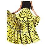Gusspower Mujer Falda Maxi Vintage Casual Tallas Grandes Cintura Alta Impresión de Lunares Falda Larga Plisada con Volantes Sueltos Elástico Falda de Playa Vestido de Fiesta Verano