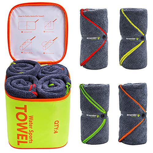 4Monster 4 Pack Microfiber Bath Towel Camping Towel Swimming Towel Sports Towel with Accessory Bag, Quick Dry & Super Absorbent...