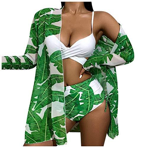 ZYZS Traje de baño sexy para mujer, con plumas verdes, manga larga, protección solar, Strappy Split verde L