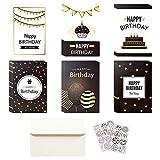 Tarjetas de Felicitación, Oro Negro Blanco Tarjetas de Felicitación de Cumpleaños, 6 Designs Paquete de Tarjetas de Cumpleaños con Sobres y Pegatinas para Niños y Adultos (24 Piezas, 10 x 15 cm)