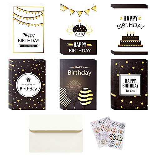 Tarjetas de Felicitación, Oro Negro Blanco Tarjetas de Felicitación de Cumpleaños, 6 Designs Paquete de Tarjetas de Cumpleaños con Sobres y Pegatinas para Niños y Adultos (24 Piezas, 10 x 15 cm) ⭐