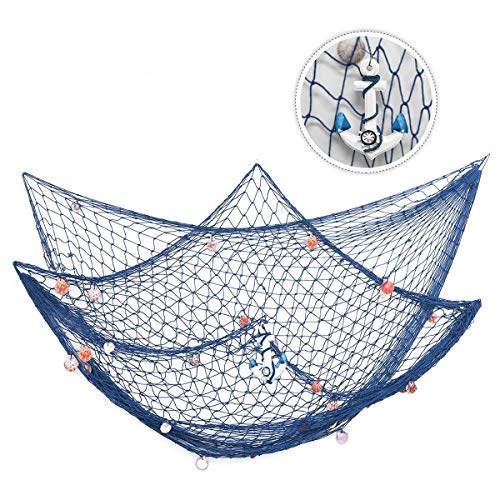 KINGSO Mediterranean Style Decorative Fish Net with Anchor and Shells (1PC, Blue)
