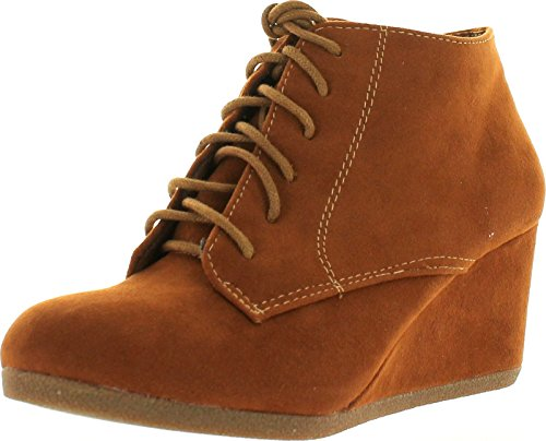 Bella Marie Brenda-11 Women's High Top Lace Up Rounded Toe Platform Wedge Suede Booties,Tan,8.5