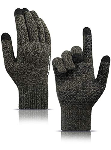 HONYAR Winter Handschuhe Herren, Winterhandschuhe Handschuhe Damen Touchscreen mit Warm Gefüttert - Elastische Manschette - Rutschfester Griff - Autofahren Laufhandschuhe - Schwarz & Khaki (M)