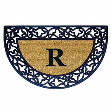 Nedia Home Acanthus Border with Half Round Rubber/Coir Doormat, 22 by 36-Inch, Monogrammed R