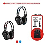 SIMOLIO 2 Pack of IR Wireless Headphones for in Car TV Video Audio Listening, 2 Channel Car DVD Headphones for...