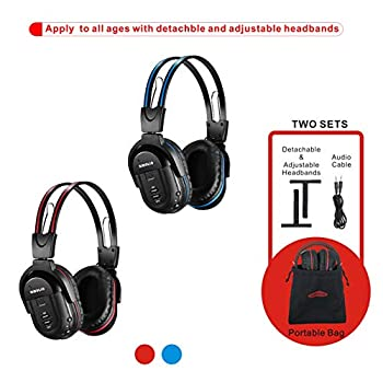 SIMOLIO 2 Pack of IR Wireless Headphones for in Car TV Video Audio Listening 2 Channel Car DVD Headphones for Kids with Custom Fit Universal Infrared Headphones for Car DVD Headrest Video AUX Cord