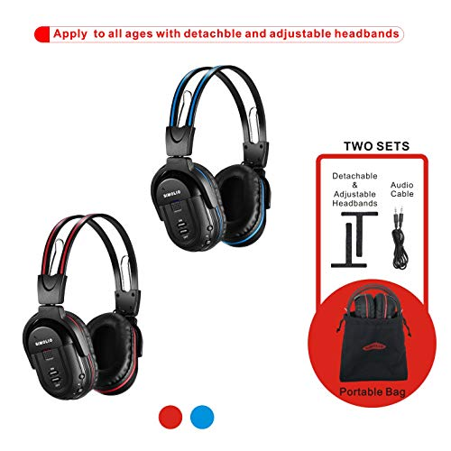 SIMOLIO 2 Pack of IR Wireless Headphones for in Car TV Video Audio Listening, 2 Channel Car DVD Headphones for Kids with Custom Fit, Universal Infrared Headphones for Car DVD Headrest Video, AUX Cord