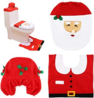 HABI Happy Santa Toilet Seat Tank Cover and Rug Set Bathroom Christmas Decorations Supplies