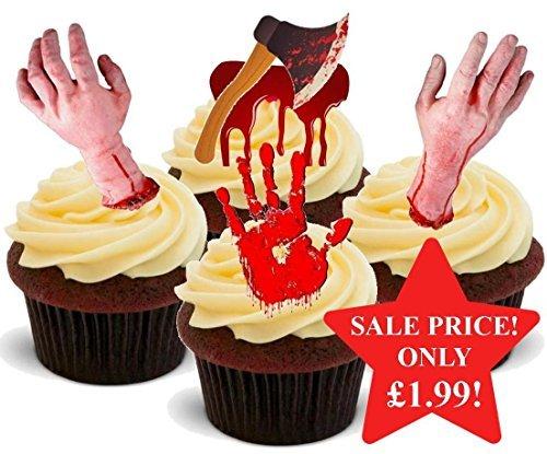 Halloween Blutige Horror Gruselig Hand Mix - Interessante Neuheit PREMIUM AUFSTEHEN Essbar Waffel Papier Kuchen Topper Dekoration